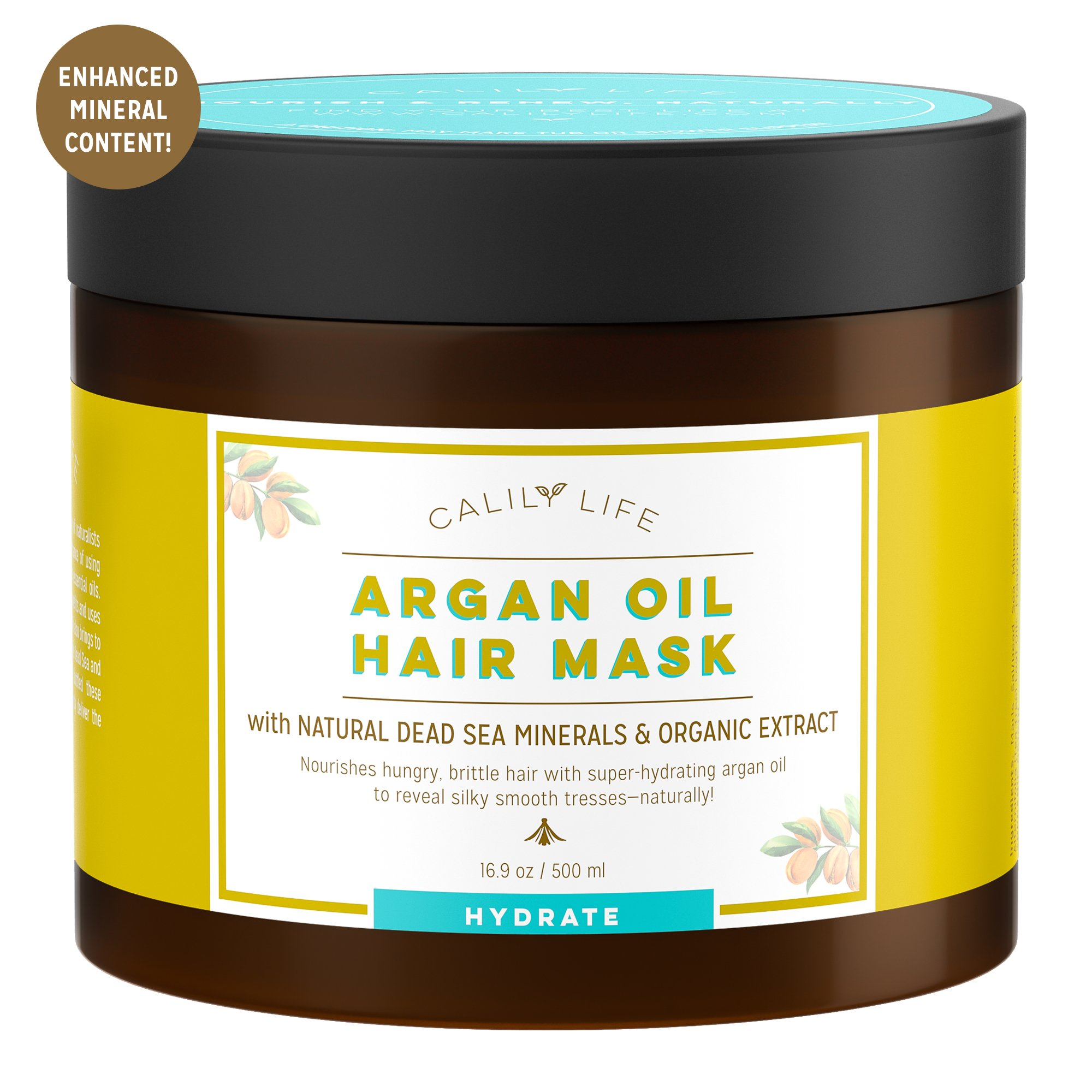 Calily Life Organic Moroccan Argan Oil Hair Mask with Dead Sea Minerals, 17 Oz. - Deep Conditioner and Nourishing - Promotes Healing & Hair Growth -Detoxifies, Strengthens, Shines & Softens [ENHANCED]