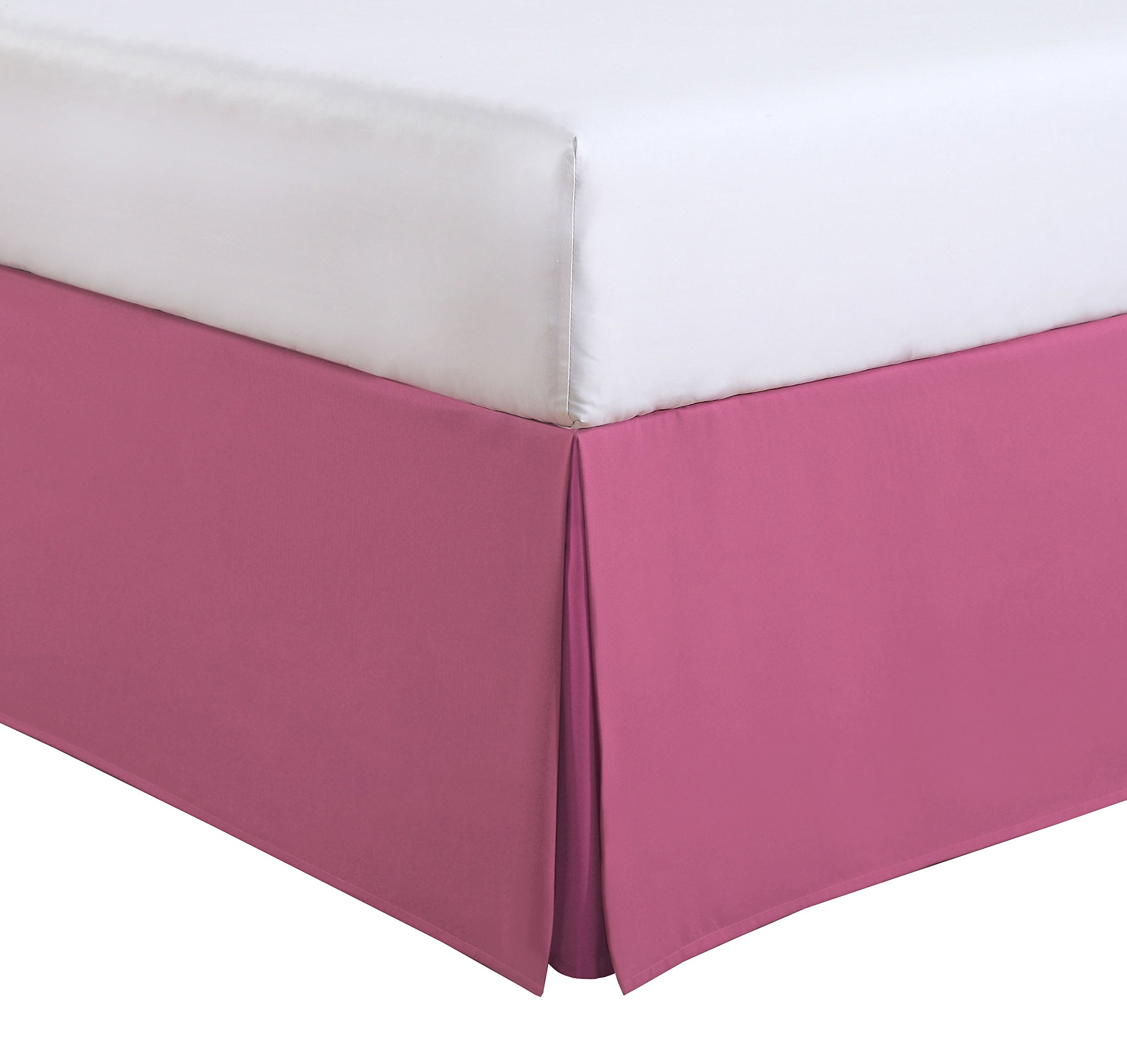 Fresh Ideas Kids Twin Bed Skirt - Lux Hotel Tailored Microfiber Bedskirt, Classic 14'' Drop Length – Pink