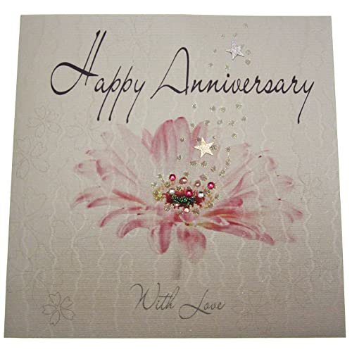 white cotton cards handmade happy anniversary card white - Wedding Anniversary Cards