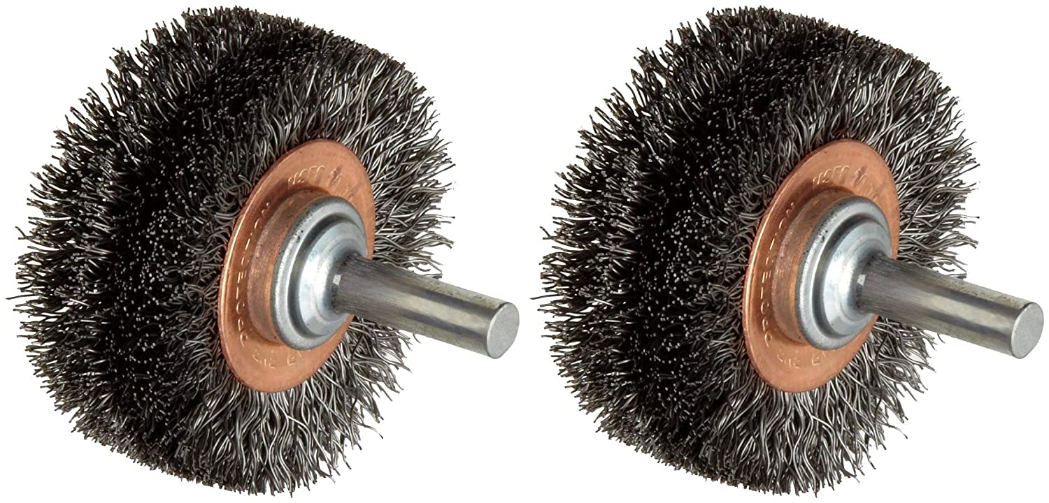 Weiler Wide Face Wire Wheel Conflex Brush, Round Shank, Steel, Crimped Wire, 2' Diameter, 0.0118' Wire Diameter, 1/4' Shank, 7/16' Bristle Length, 3/4' Brush Face Width, 20000 rpm