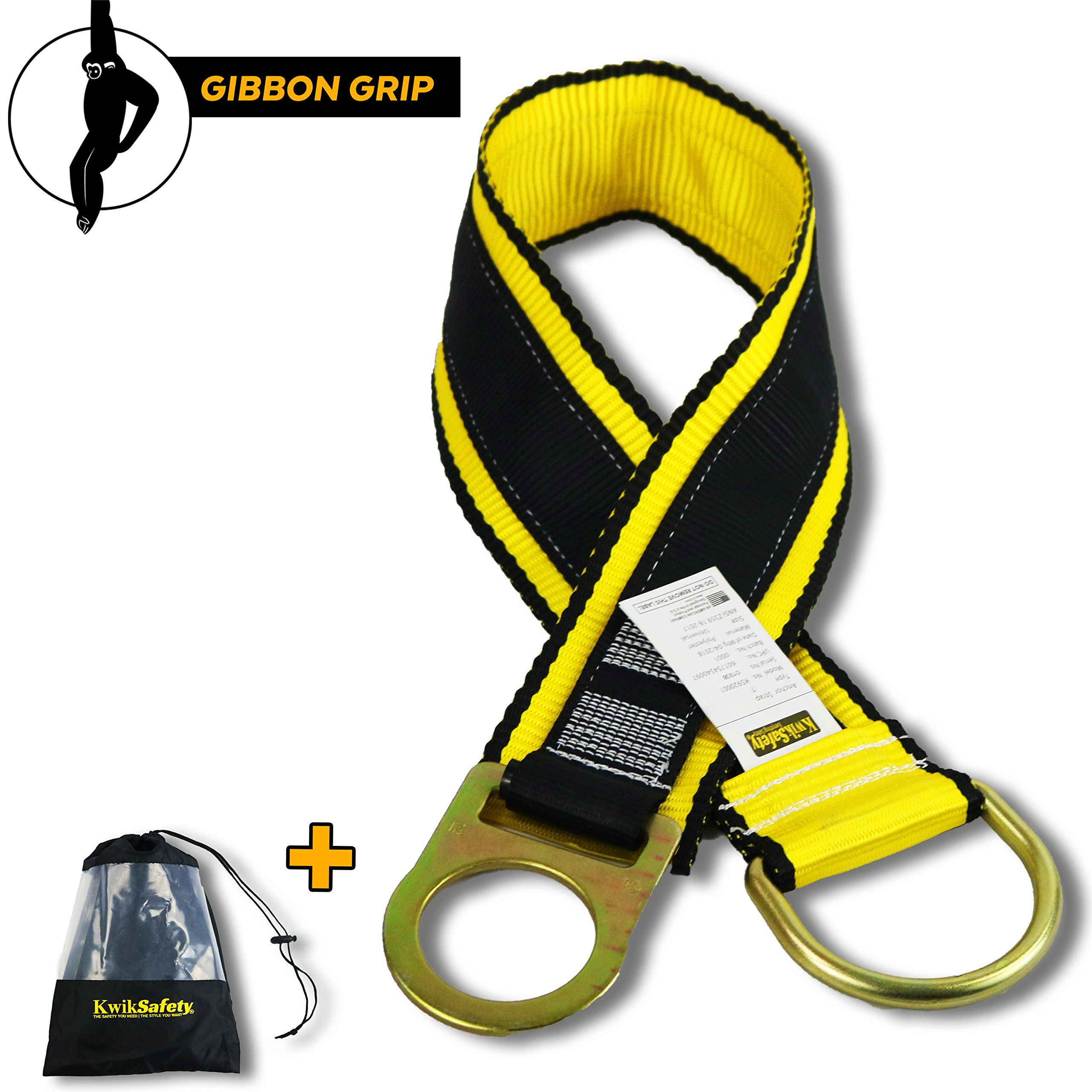 KwikSafety (GIBBON GRIP) 3 ft Anchor Choker Cross Arm Strap Fall Arrest ANSI Pass Thru Tie Off Safety Sling Anchorage Connector Fall Protection Tool Roofing Harness Lanyard SRL Construction PPE Kit