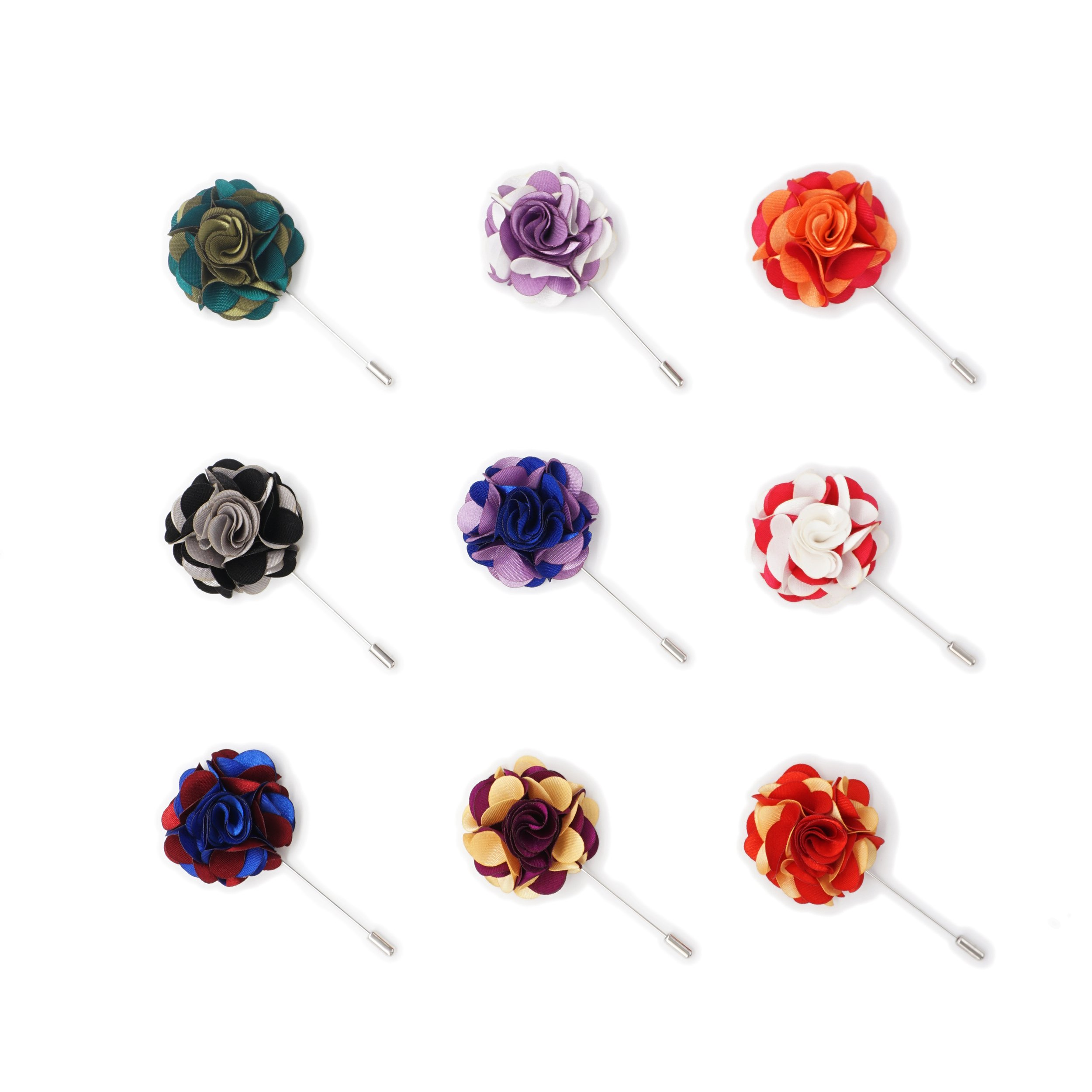 INNEE Handcrafted Lapel Flower 9pcs Boutonniere Pins in Clear Top Tin Box (Style 6) by INNEE JEWELRY