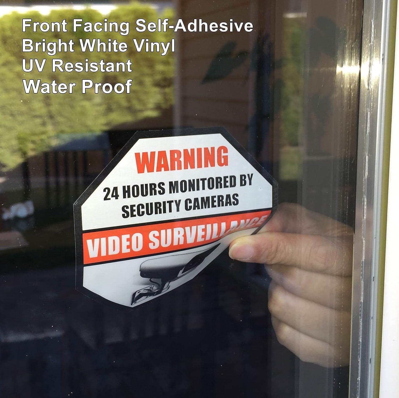 89mm X 89mm Home Business Security DVR CCTV Camera Video Surveillance System Window Door Warning Alert Sticker Decals **Front Self Adhesive Vinyl** Outdoor//Indoor 4 Pack