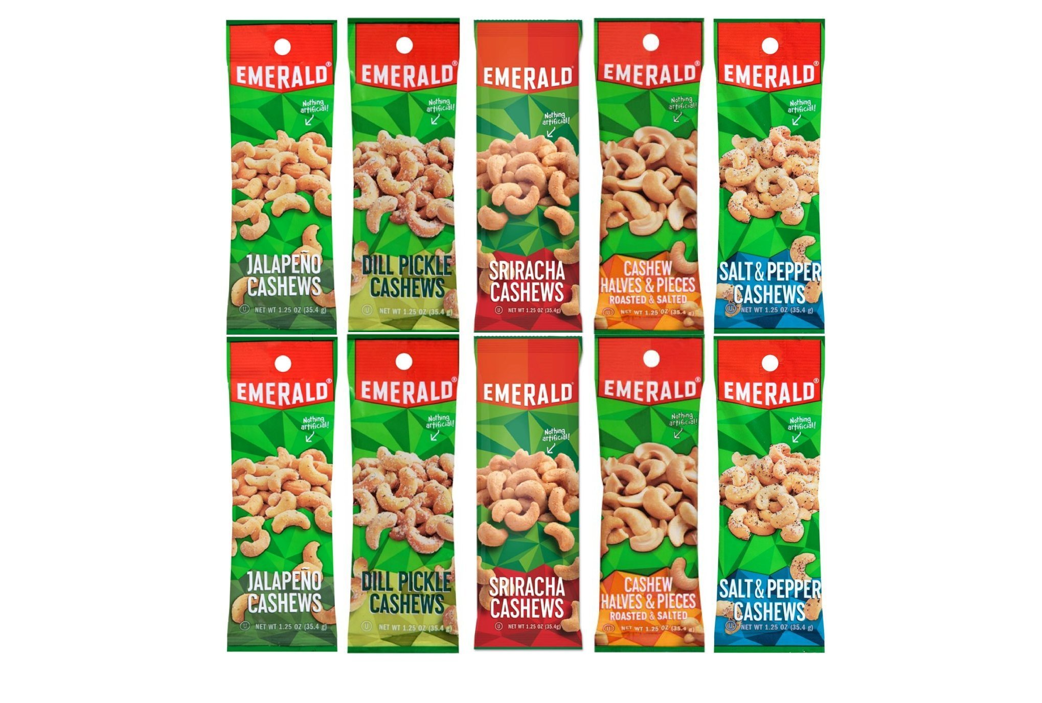 Emerald Snacks Flavored Cashews Variety Bundle - Assortment Featuring Dill Pickle, Jalapeno, Salt & Pepper, Sriracha and Roasted & Salted by