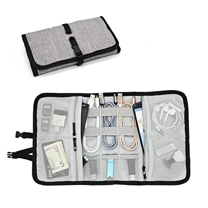 2896f188313 Patu Roll Up Folding Travel Organizer Case for Cables, Memory Cards, Flash  Disks,