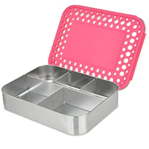 LunchBots Bento Cinco Large Stainless Steel Food Container - Five Section Design Holds a Well-Balanced Variety of Foods - Eco-Friendly Bento Lunch Box - Dishwasher Safe and BPA-Free - Pink Dots