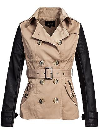 99c1793e5de59c Kingz & Queenz Damen Trenchcoat, Damen Mantel Leder-Stoff Mix IV043, beige -