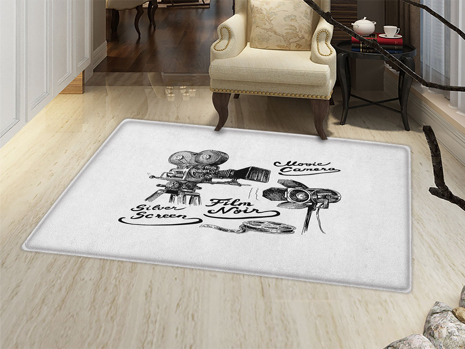 smallbeefly Movie Theater Floor Mat for kids Cinematography Themed Artwork with Old Camera and Equipment Silver Screen Door Mat Increase Black White