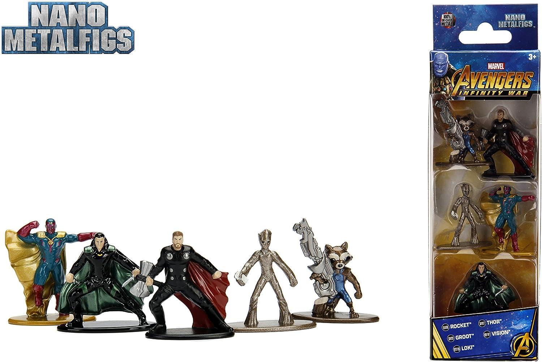 Jazwares Nano METALFIGS-Marvel Avengers Infinity War-Pack de 5 Figuras de 4 cm (Thor, Rocket, Teenage Groot, Loki, Vision), 99920: Amazon.es: Juguetes y juegos