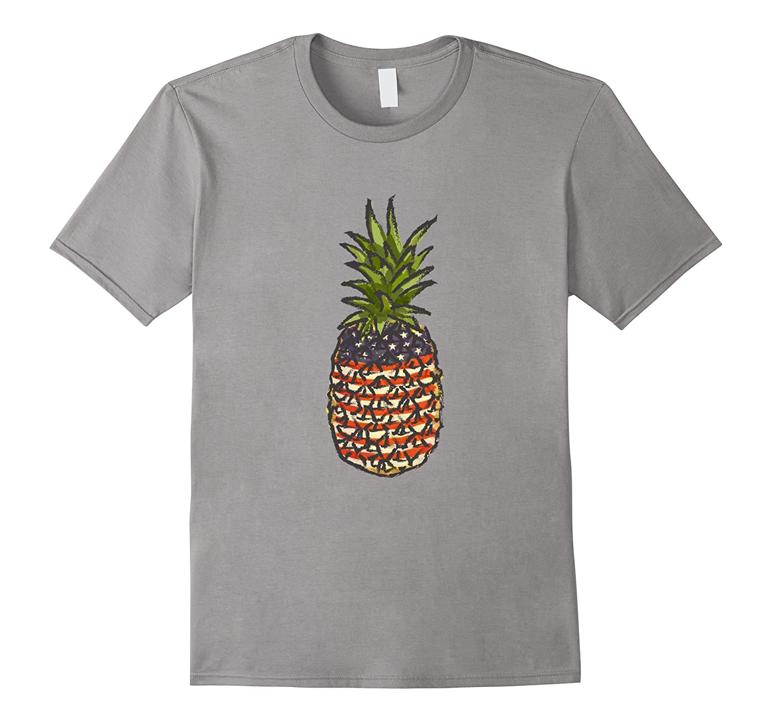 Labor Day Pineapple Illustration American Flag T- shirt-BN