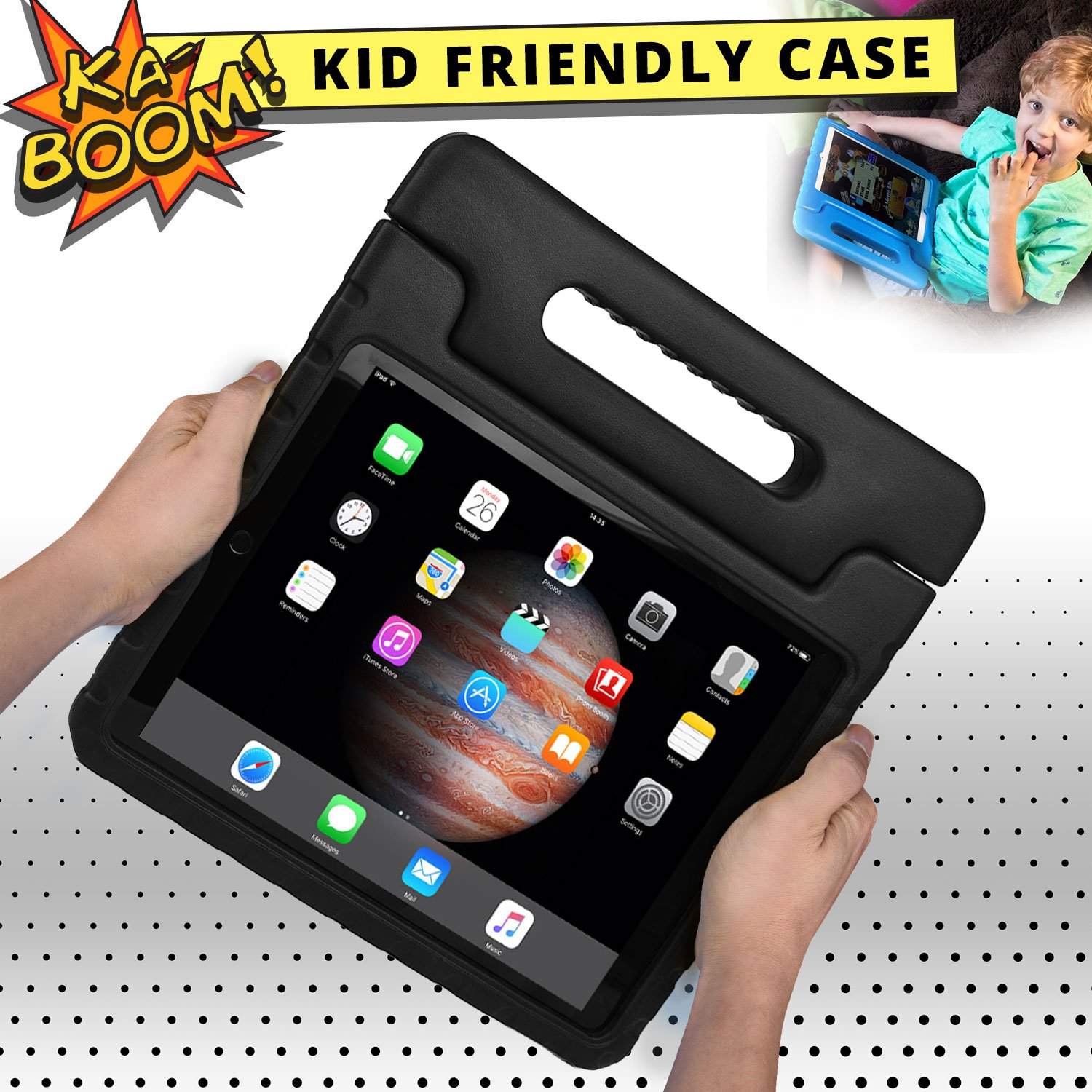 COOPER DYNAMO Shock Proof Kids case compatible with iPad Pro 12.9 | Heavy Duty Kidproof Cover for Kids | Girls, Boys, School | Kid Friendly Handle & Stand, Screen Protector | Apple A1584 A1652 (Black) by Cooper Cases (Image #5)