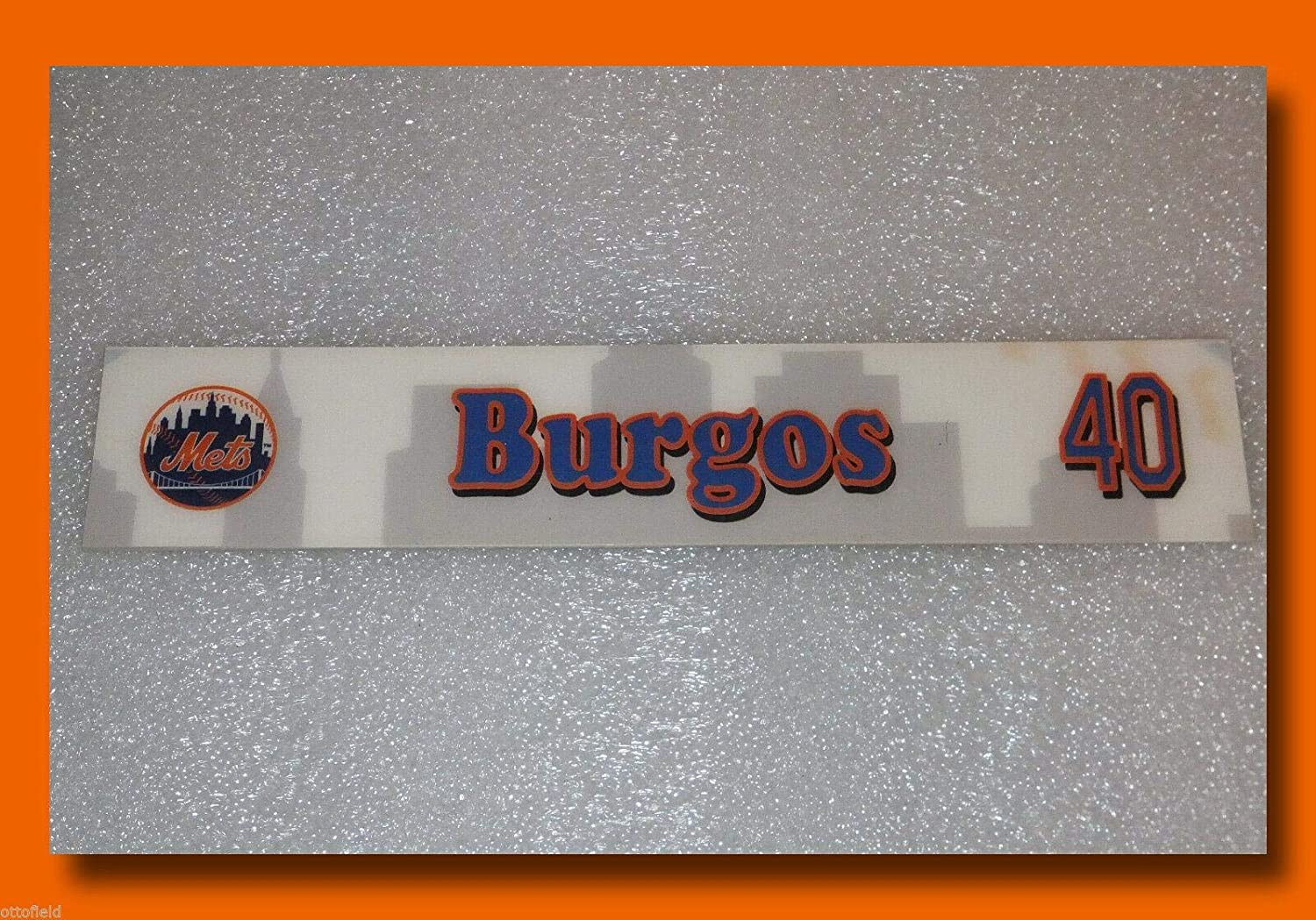 Ny Mets Game Used Ambiorix Burgos Clubhouse Locker Room Nameplate Tag Kc Royals - Game Used MLB Stadium Equipment