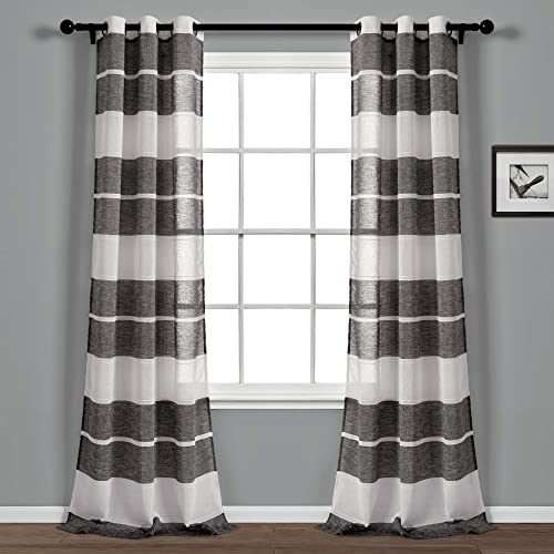 Lush Decor Black and White Textured Striped Grommet Sheer Window Curtain Panel Pair 84″ x 38″