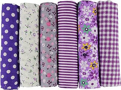 UOOOM 6pcs 50 x 50 cm, diseño de retales algodón Tejido DIY hecho a mano Costura Quilting tela diseños diferentes: Amazon.es: Hogar