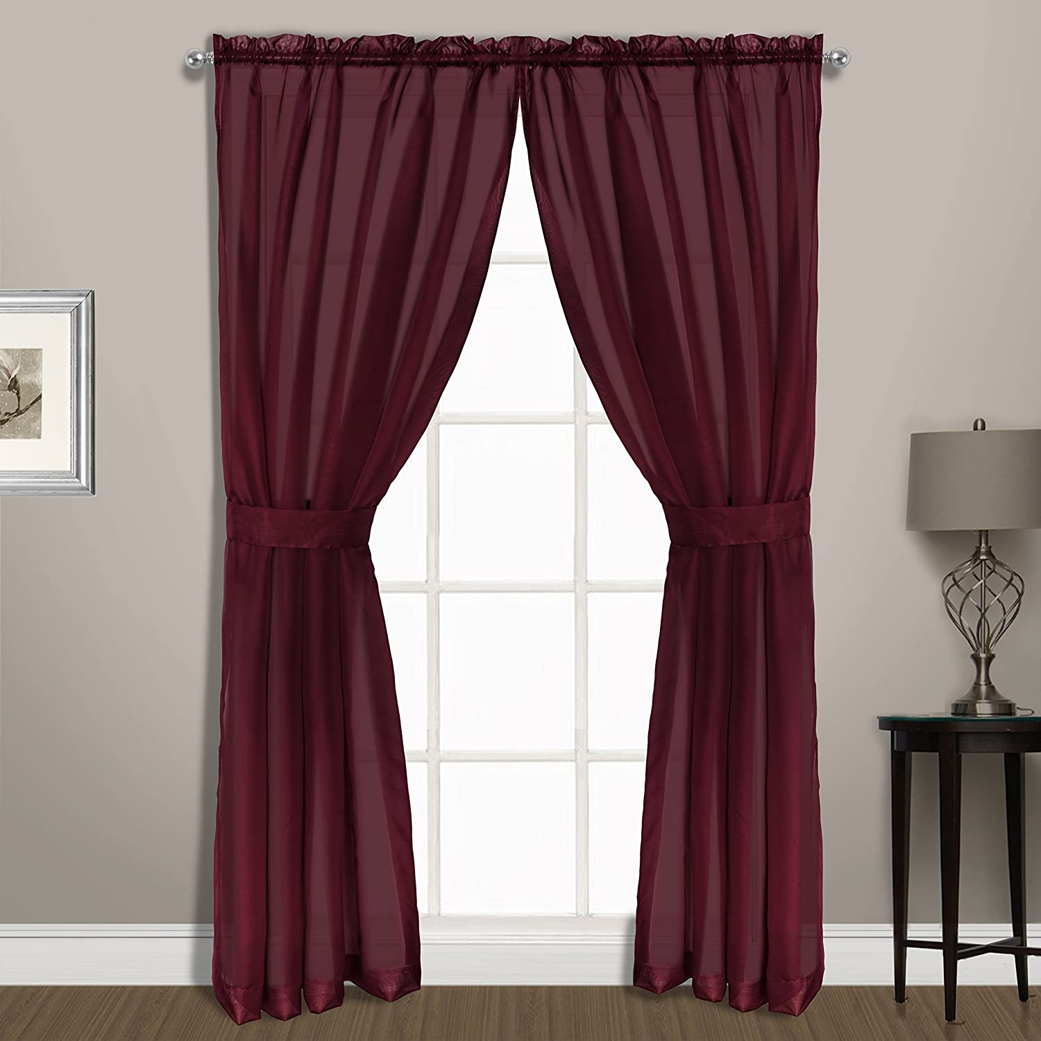 United Curtain Summit Sheer Voile Panel Pair with Tiebacks Navy 74 x 72