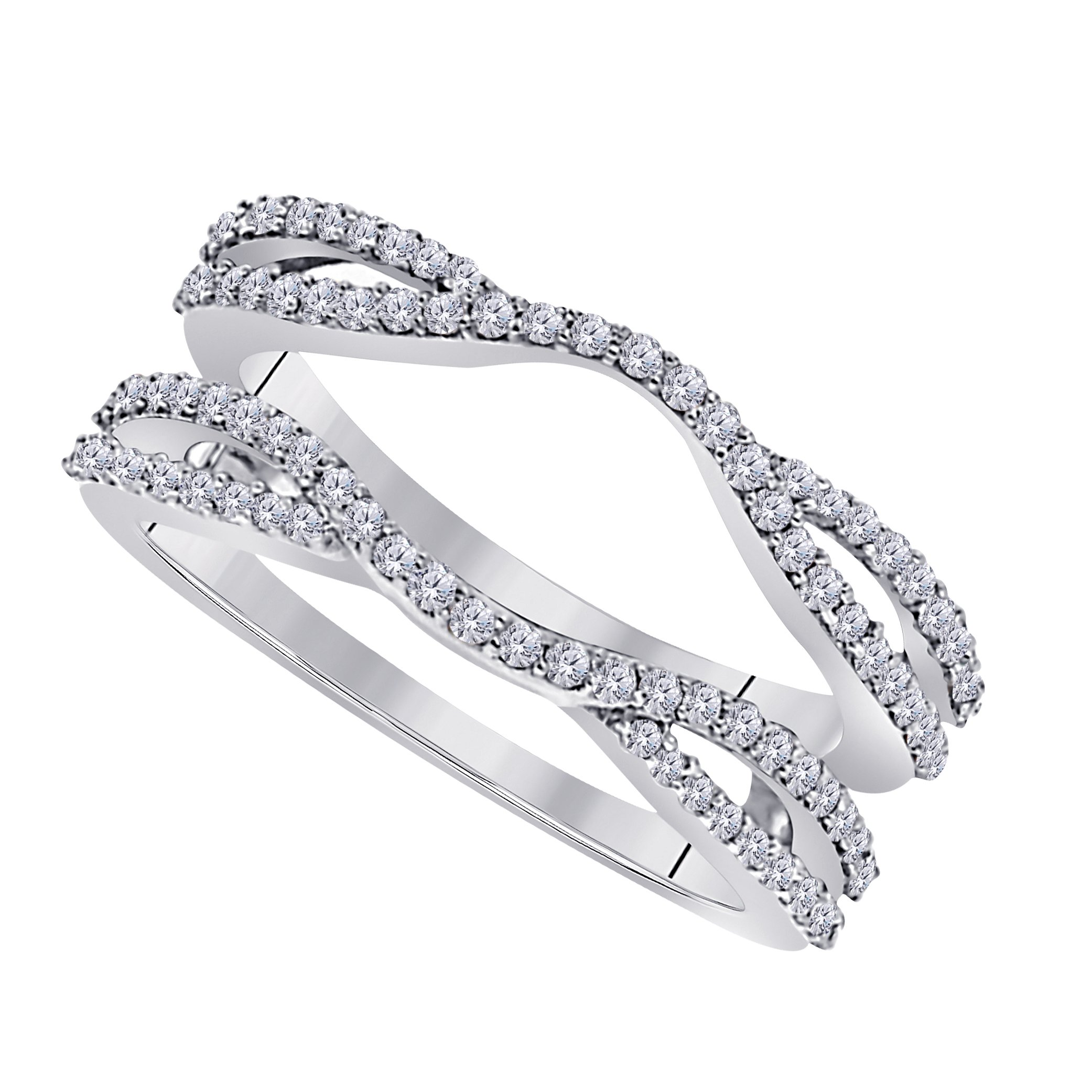 Jewelryhub 0.50 Ctw 14K White Gold Plated Round Cut White CZ Diamond Alloy Ladies Anniversary Wedding Band Enhancer Guard Double Chevron Ring