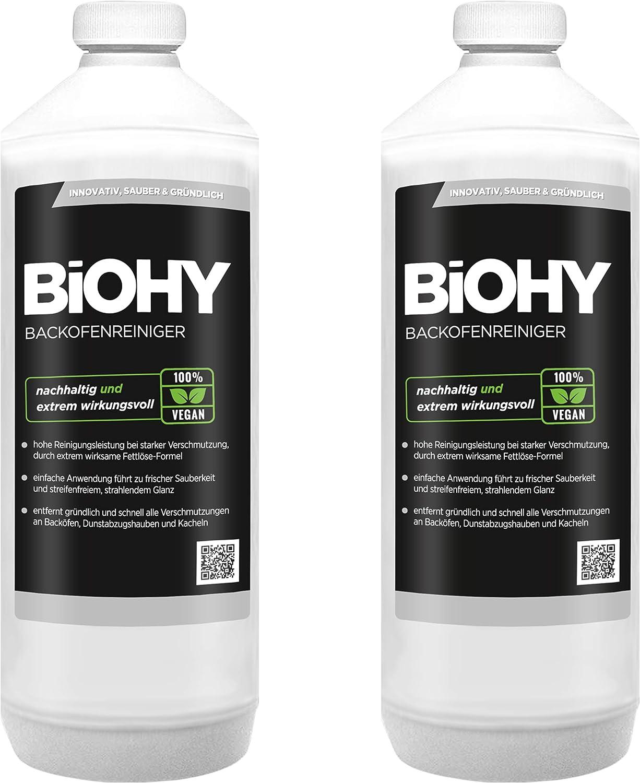 BiOHY Limpiador de horno (2 botellas de 1 litro) | Limpiador de parrilla, removedor de grasa para una limpieza fácil y rápida del horno, sin necesidad de fregar (Backofenreiniger): Amazon.es: Salud y