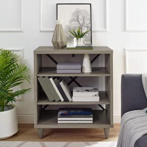 Classic Brands Rustic Farm House Three Shelf Solid Wood Bookcase/End Table with Legs, Antique White