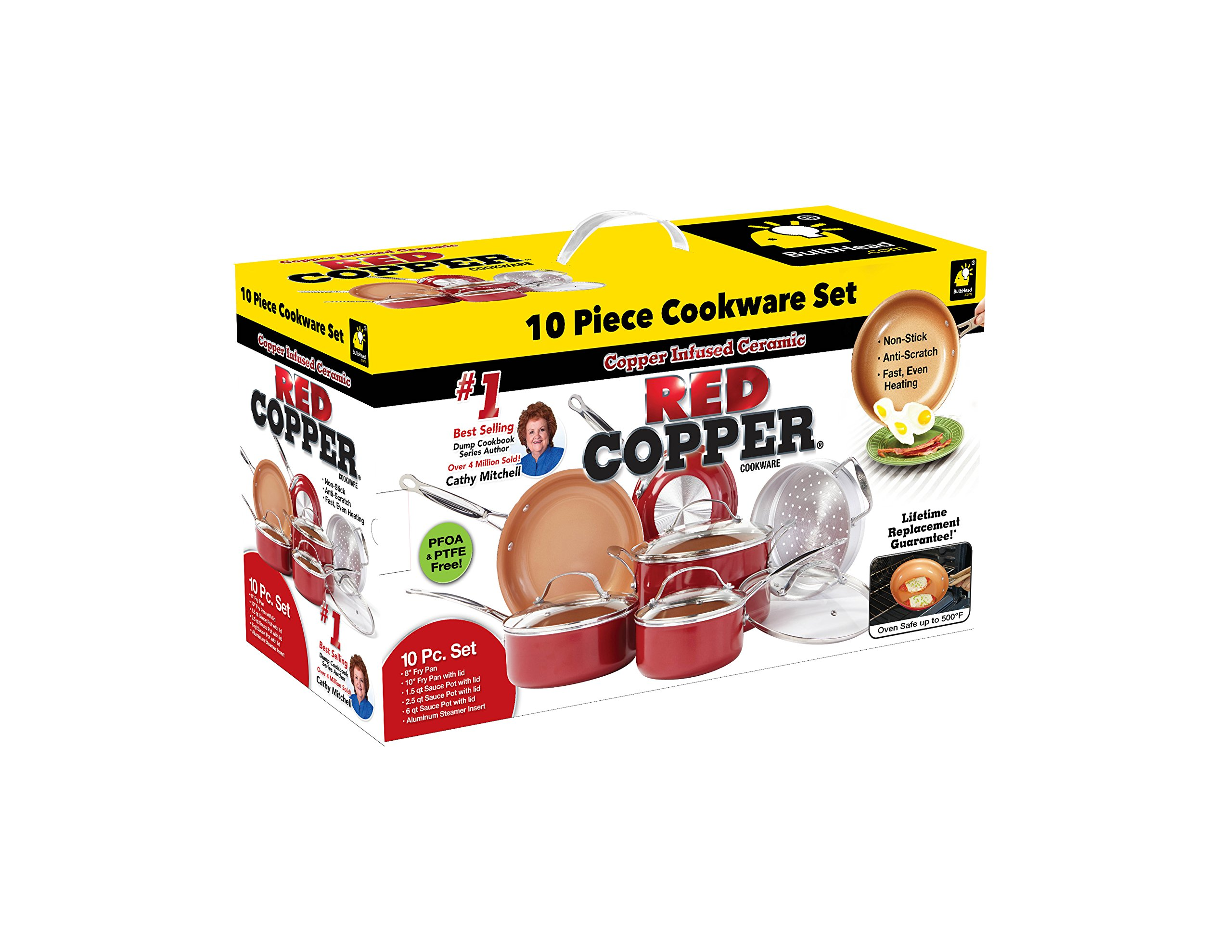Red Copper 10 PC Copper-Infused Ceramic Non-Stick Cookware Set by BulbHead by BulbHead (Image #2)