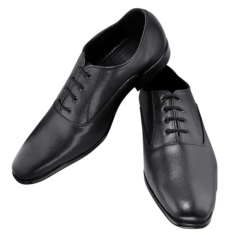 Buy ZAPATOZ Men's Solid Black PU Formal