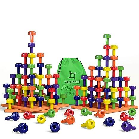 Amazon Com Stacking Peg Board Set Toy Jumbo Pack Montessori