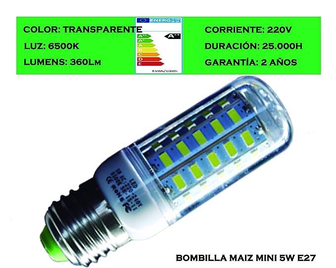 Tubombiled - Bombilla LED Maíz Mini 5W E27 Luz Fría 6500K (El paquete contiene 6