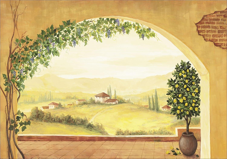 Artland Qualitätsbilder I Bild auf Leinwand Leinwandbilder Wandbilder 100 x 70 cm Landschaften Fensterblick Italien Malerei Creme A1VS Weinranken Toskana