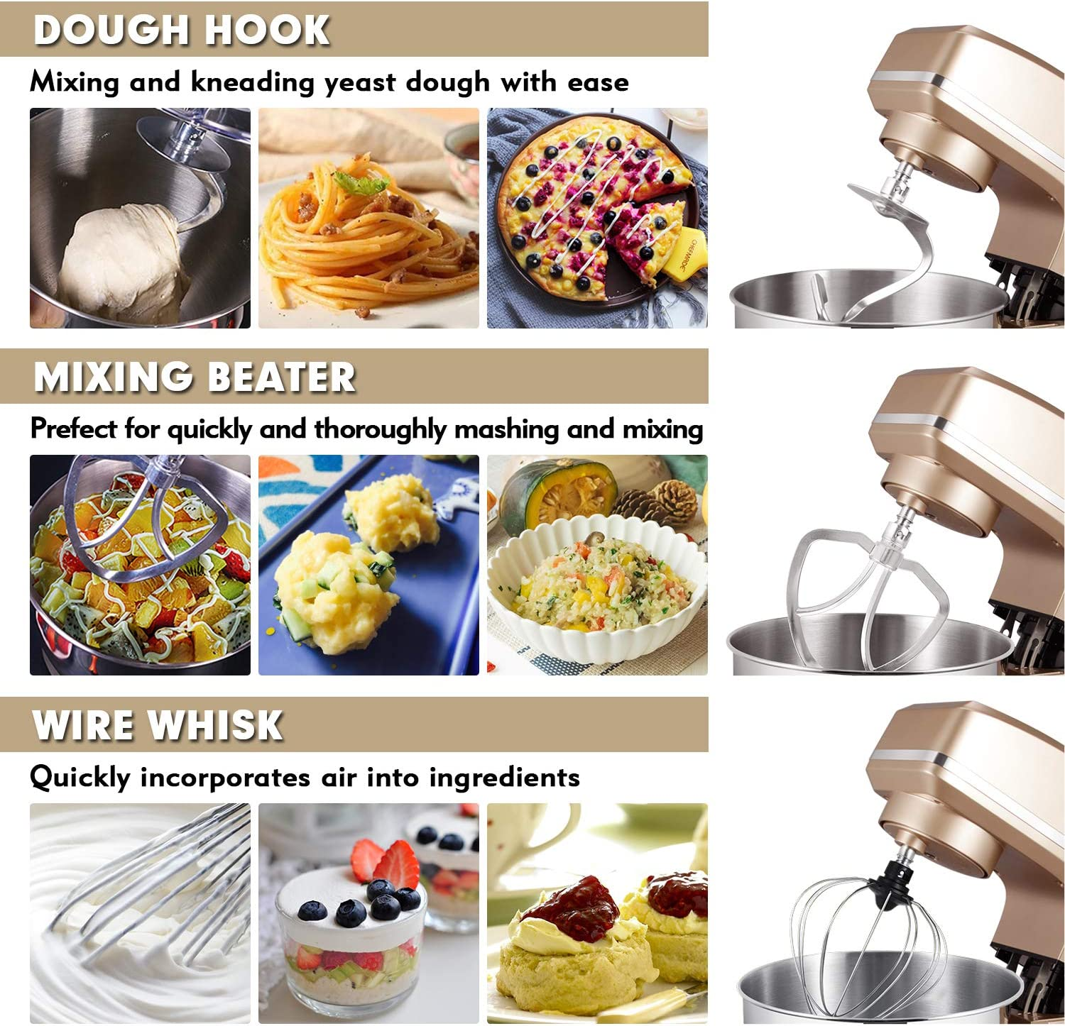 Sincalong 8.5QT 660W 6 Speed Tilt Head Electric Mixer with Stainless Steel Bowl Dough Hook Champagne Splash Guard Whisk Dough Kneading Machine Stand Mixer Flat Beater