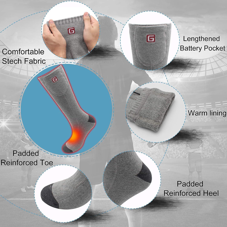Svpro Calcetines térmicos recargables Baterías térmicas cómodas Calcetines térmicos para clima frío Caminatas, camping, calcetines de invierno para hombres ...