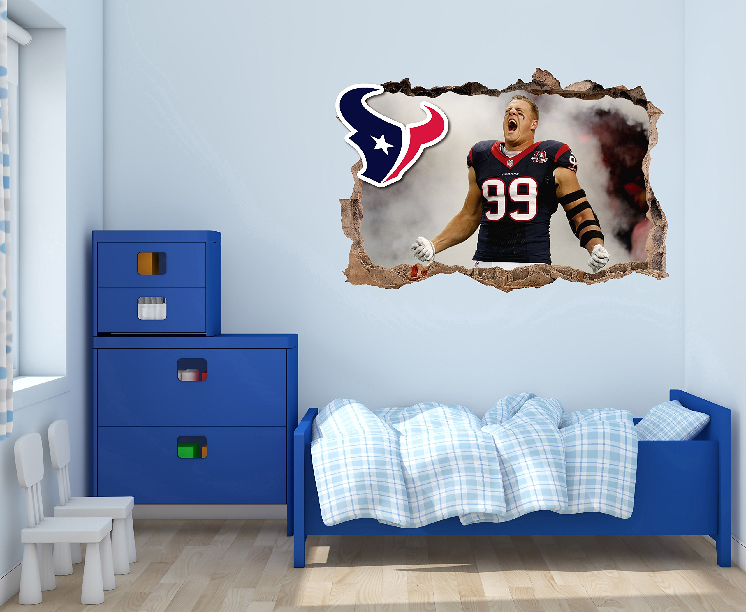 JJ Watt Houstons Texans - 3D Smashed Wall Effect - Wall Decal For Home Nursery Decoration