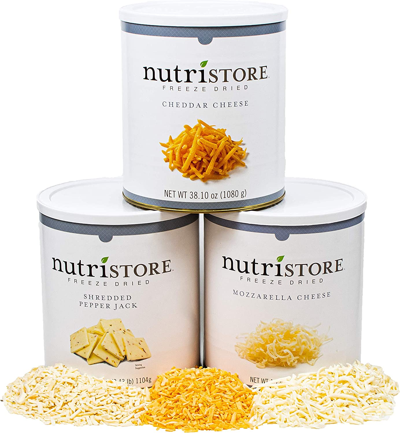 Nutristore Freeze-Dried Cheese Sample Variety 3-Pack | Cheddar, Mozzarella, & Pepper Jack | Perfect for Snacking, Backpacking, & Home Meals | Bulk Emergency Survival Food Storage | 25 Year Shelf-Life
