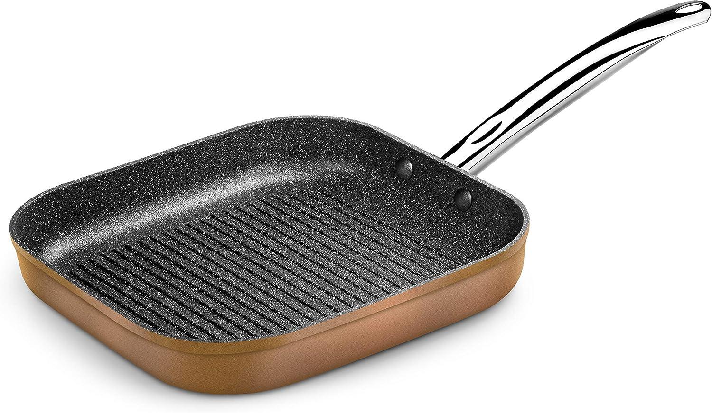 geeignet f/ür alle Herdarten Monix Copper Grillrost aus geschmiedetem Aluminium mit Titan-Partikeln Kupfer auch Induktion 28 x 28 cm