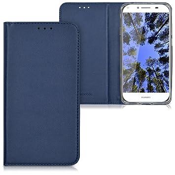 kwmobile Funda para Huawei Y6 II Compact (2016) - Carcasa para móvil de [Cuero sintético] - Case [Plegable] en [Azul Oscuro]