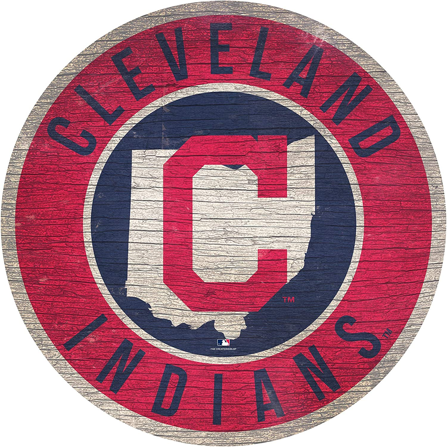 Fan Creations Cleveland Indians 12 Team Color Logo State