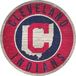 """Indians 12"""" Circle with State and Team Logo Wood Sign"""