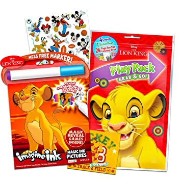 Disney Lion King Coloring Book Set -- Mess-Free Imagine Ink Book, Play  Pack, and Bonus Stickers (Lion King Party Supplies)