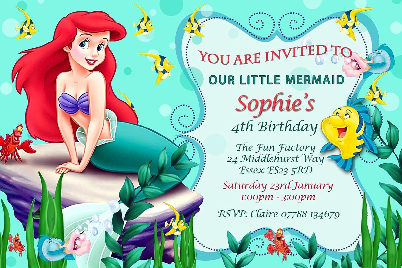 Little Mermaid Birthday Party Invitations Envelopes Personalised K101