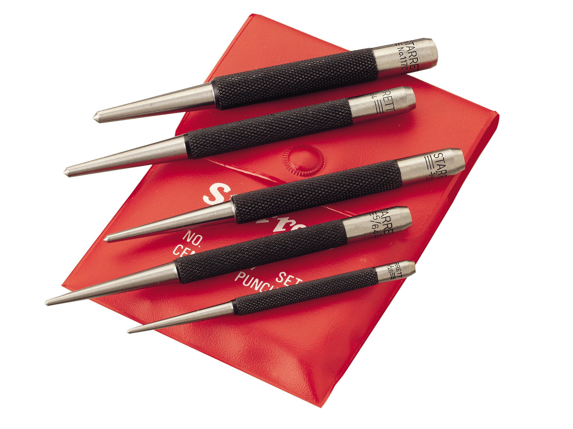 """Starrett S117PC Set of 5 Center Punches, 1/16'', 5/64"""", 3/32"""", 1/8"""", 5/32'' Diameters, in Plastic Case"""