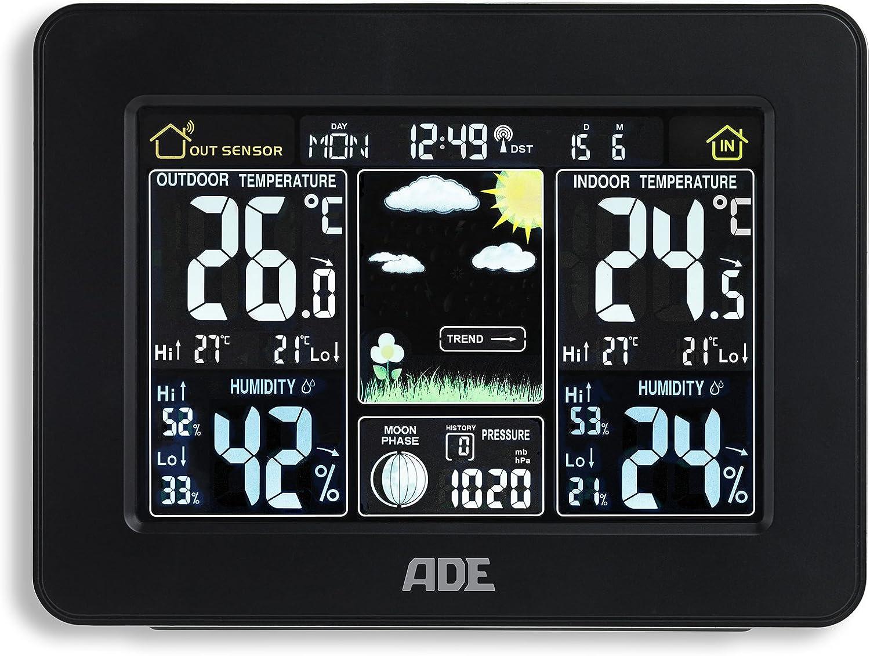ADE Station m/ét/éo WS 1503/avec Radio et capteur ext/érieur Noir