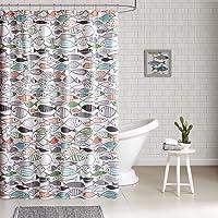 "HipStyle - Sardinia - Modern Multi-Color Fish - Cotton Printed - Designer Shower Curtain - 72"" x 72"" - Machine Washable"