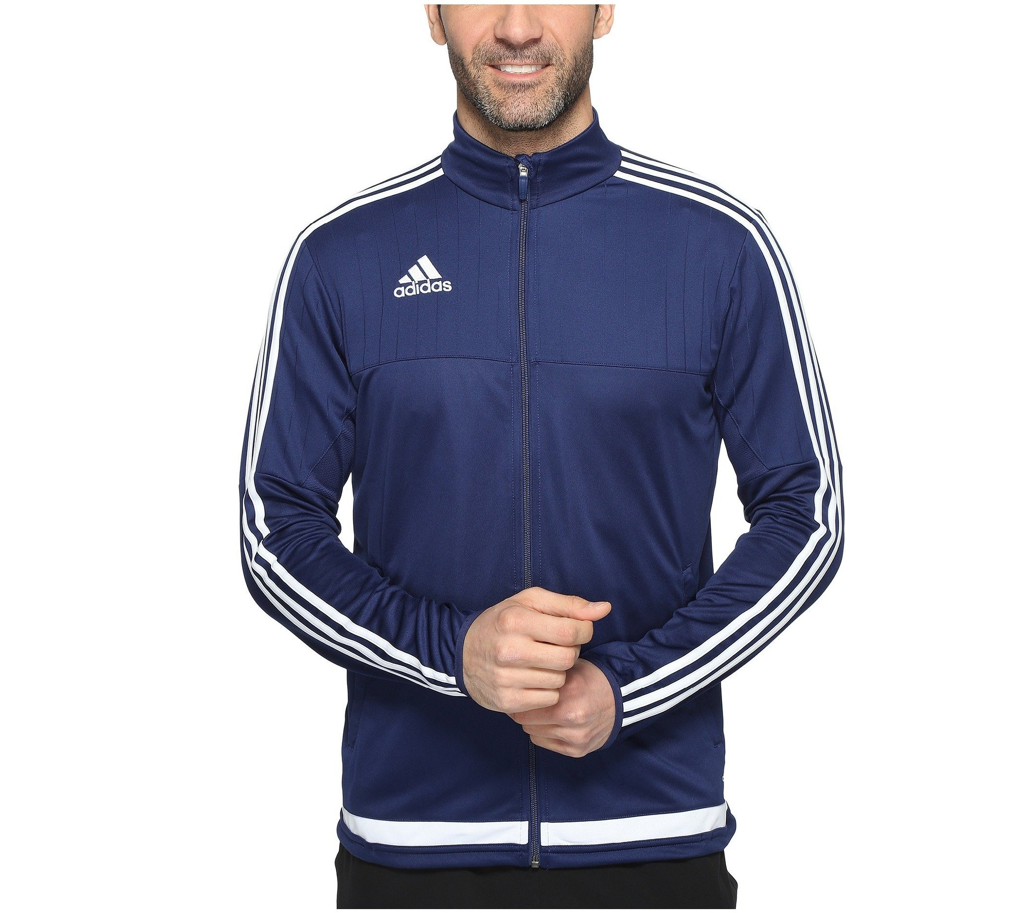 adidas Men's Soccer Tiro 15 Training Jacket, Dark Blue/White/Dark Blue, Large by adidas