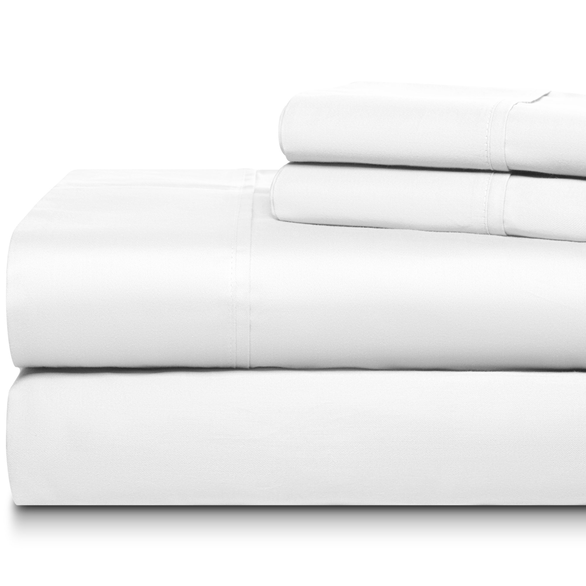Soft-On 300 Thread Count 4 Piece Luxury Sheet Sets 100% Long Staple Soft Egyptian Quality Cotton with 15'' Deep Pockets, Full, Smooth and Soft Sateen Weave, Anti-Fade Luxury Hotel Collection, White