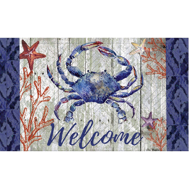 Evergreen Garden 41EM2314 Welcome Crab Embossed Floor Mat Door, Multicolor