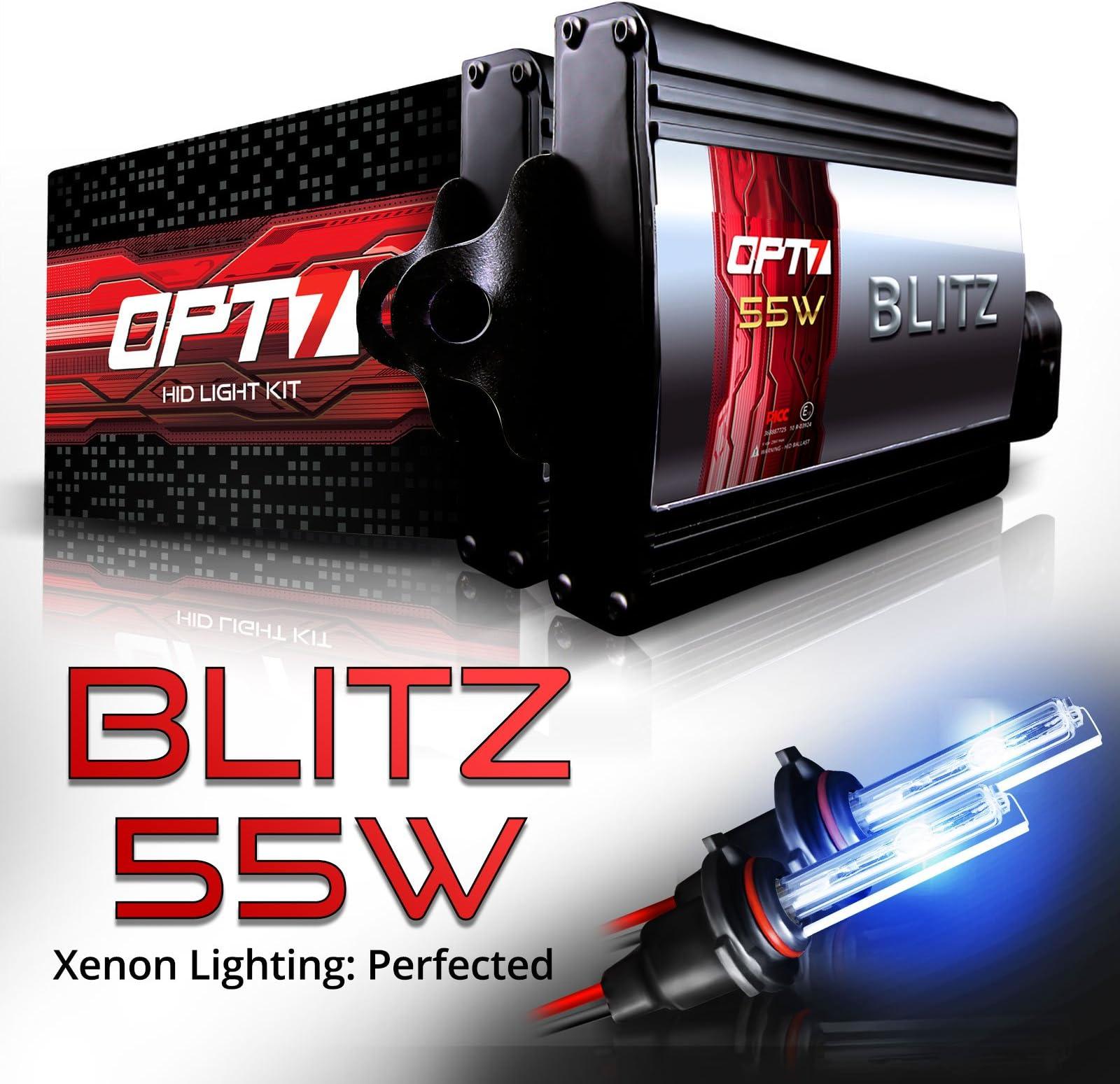 amazon com hid kits lighting conversion kits automotiveopt7 blitz 55w 9006 hid kit 5x brighter 4x longer life all bulb
