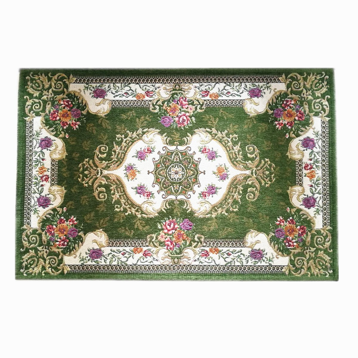 """Hihome Retro Green Floral Door Rugs Vintage Doormats Floral Design, Machine Washable, Kitchen Dining Living Bathroom Entry Rugs Inside Rugs(19.7""""x31.5, Green)"""
