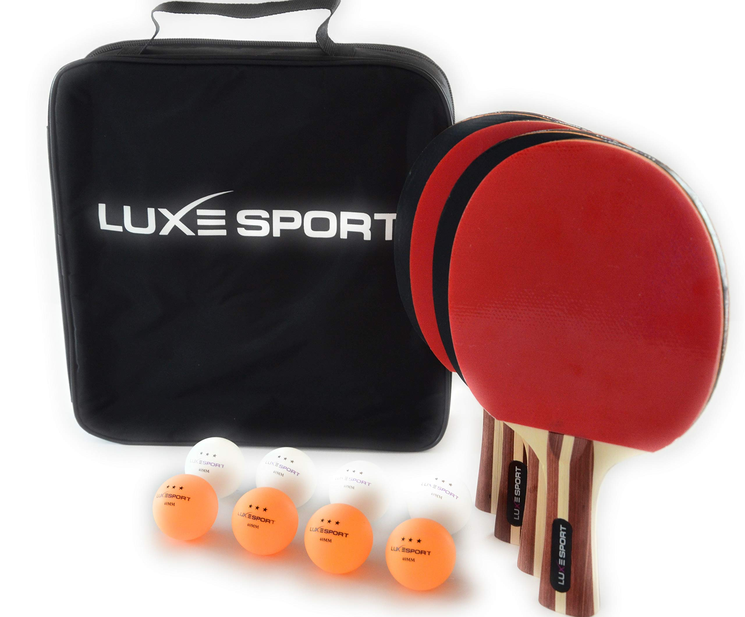 Ping Paddle Set of 4 - Full Table Tennis Bundle includes 4 Ping Pong Paddles, 8 Seamless 40mm Balls, Portable Storage Travel Bag/Case - Racket Kit for 2 or 4 Players - Recreational Indoor / Outdoor Games