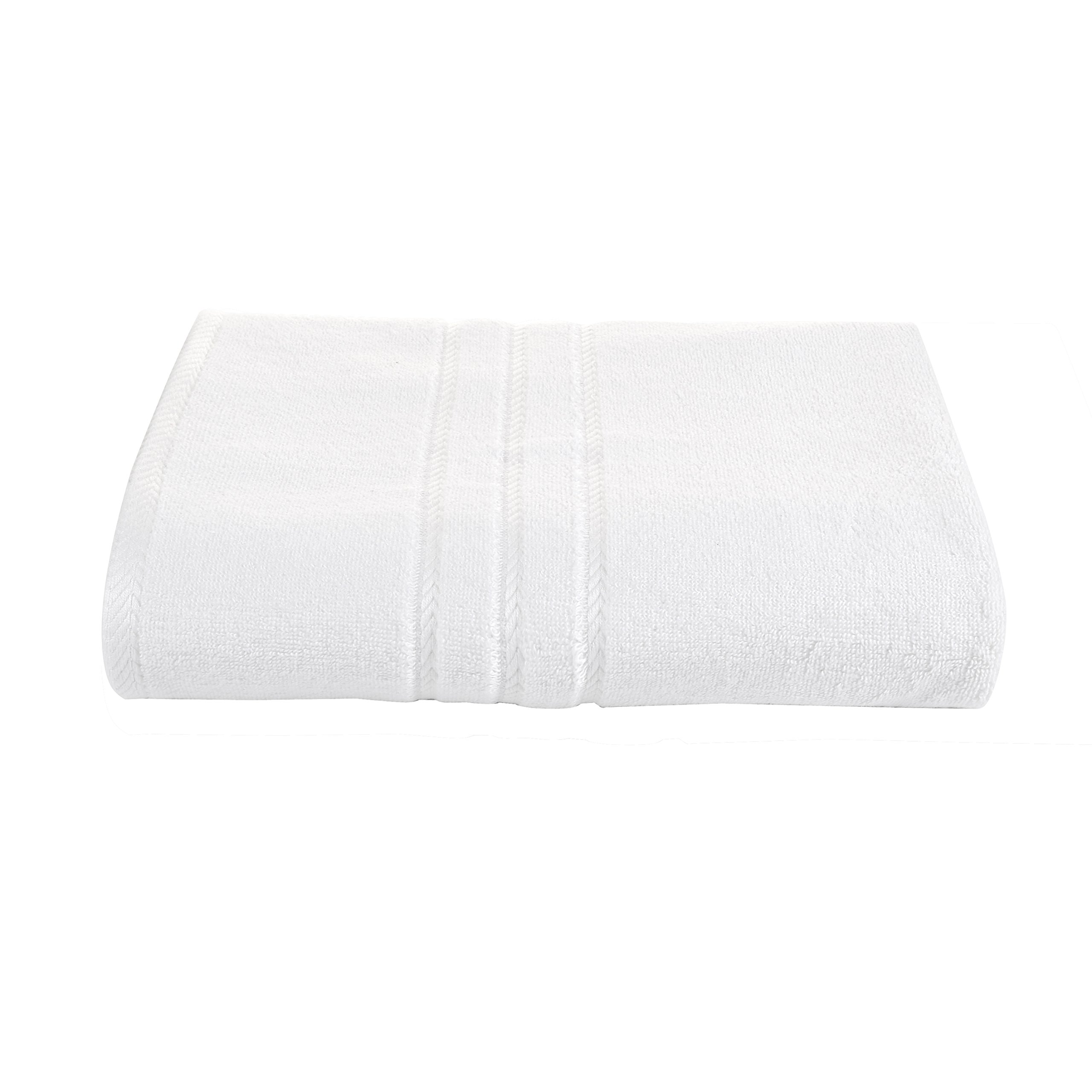 White Bath Towels Sets -Pack of 4 -Heavy Weight ,Oversize 28 X 55 Inch, 600 GSM, Made by Premium Bamboo Cotton,Ultra Soft for Everyday Use by Bamboo Classic (Image #5)