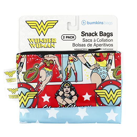 Bumkins DC Comics Wonder Woman Snack Bags, Reusable, Washable, Food Safe, BPA Free, Pack of 2