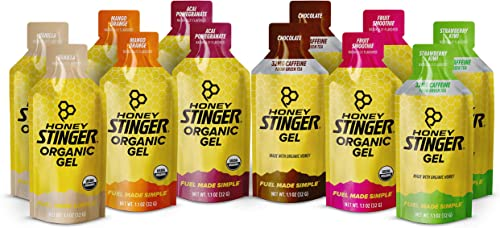 Honey Stinger Organic Energy Gels Variety Pack with Sticker 12 Count Energy Source for Any Activity Vanilla, Chocolate, Mango Orange, Acai Pomegranate, Strawberry Kiwi Fruit Smoothie