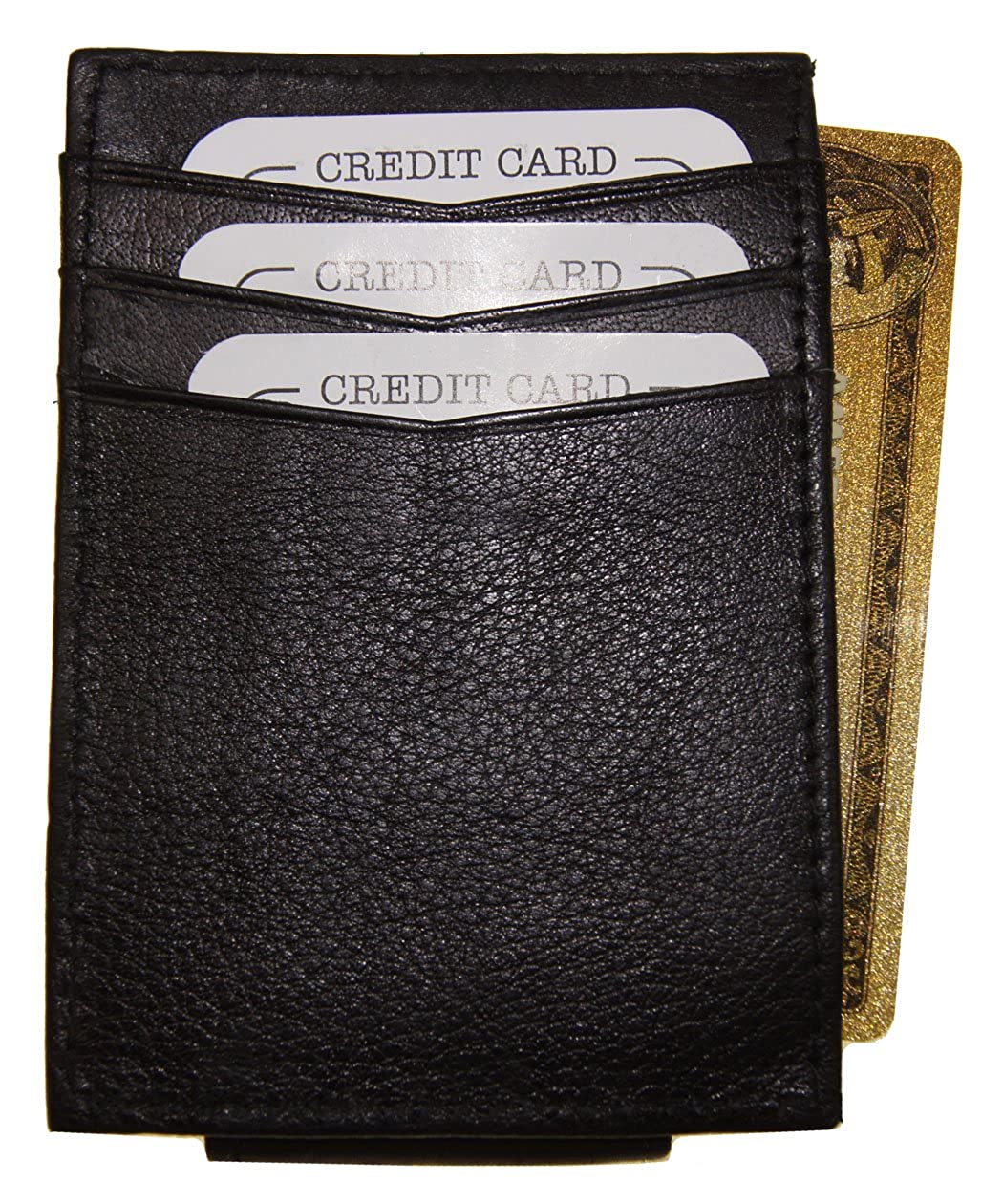 Black AG Wallets Mens Leather Magnetic Money Clip Credit Card Wallet